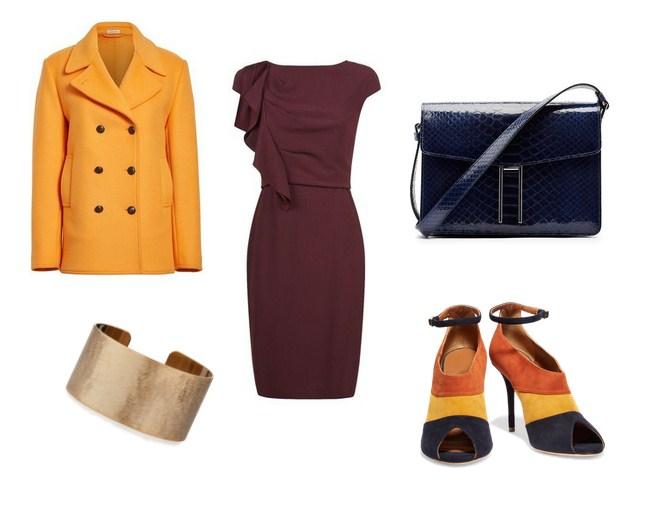 модный сет, желтое пальто, платье