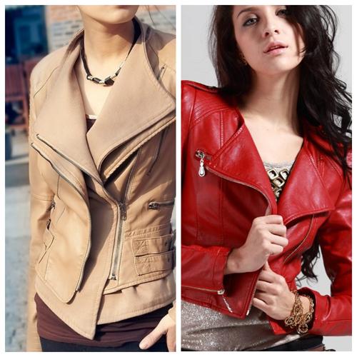 кожаная куртка бежевого и красного цвета