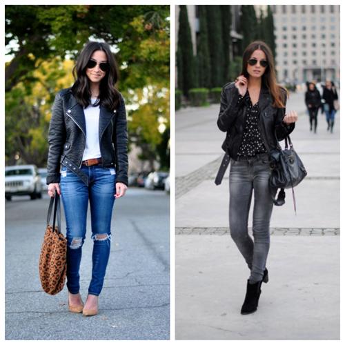кожаная куртка и джинсы
