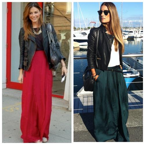 кожаная куртка и длинная макси юбка