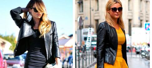 кожаная куртка и платье - 1