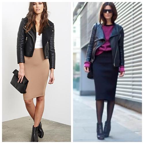 кожаная куртка и юбка карандаш