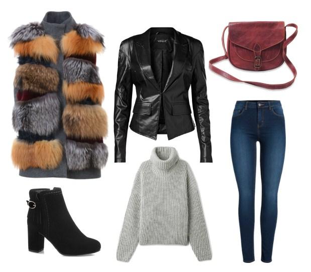 меховой жилет и джинсы - модный сет на осень
