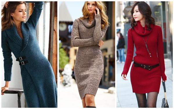 модели вязаных платьев, женские вязаные платья