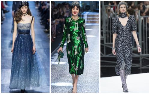 модные платья на Новый год - пайетки и стразы