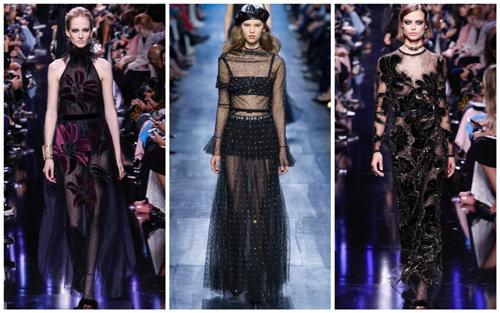 модные платья на Новый год - прозрачная ткань
