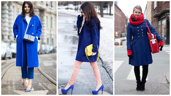 пальто синего цвета, синее женское зимнее пальто, фото