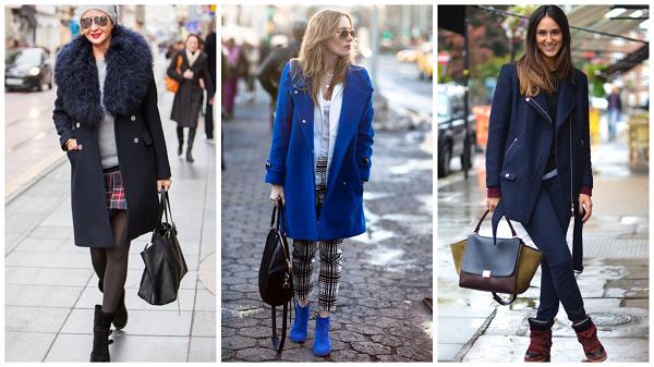 синее пальто с чем носить, синее женское пальто