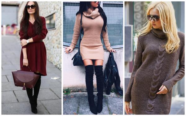 с какими колготками носить зимнее вязаное платье, с чем носить длинное вязаное платье зимой