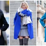 Пальто синего цвета — с чем носить, фото