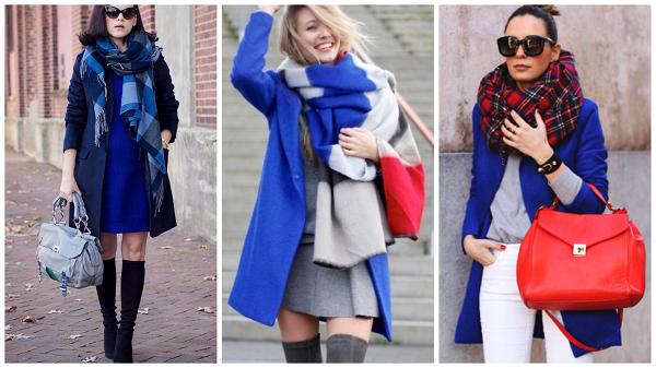 темно синее пальто, фото, с чем носить, шарф к синему пальто
