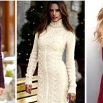 Женские зимние вязаные платья — с чем носить, фото
