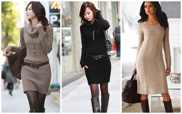 теплое вязаное платье, с чем носить вязаное платье зимой - фото