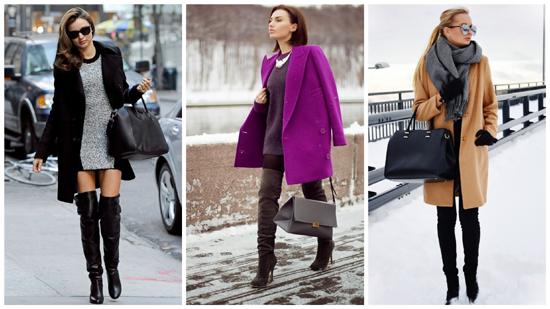 зимний стиль одежды, ботфорты, женский зимний стиль