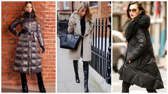 зимний стиль одежды, зимний стиль фото, женское зимнее пальто и пуховик