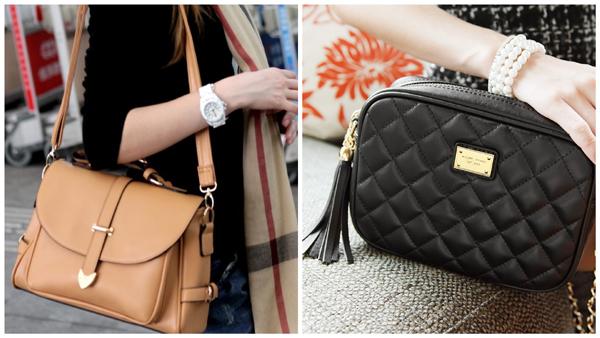 черная и бежевая женская сумка