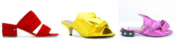 самая модная женская обувь лето 2018 - женские мюли яркого цвета