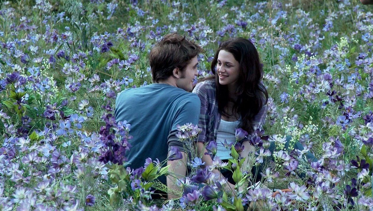 сага сумерки - эдвард и бэлла на цветочном лугу