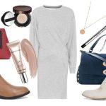 Серое трикотажное платье — модные сеты
