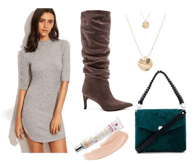 серое вязаное платье, модный сет