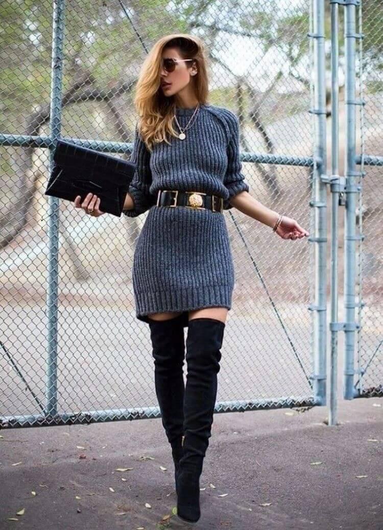 серое вязаное платье, фото образов, с чем носить серое вязаное платье