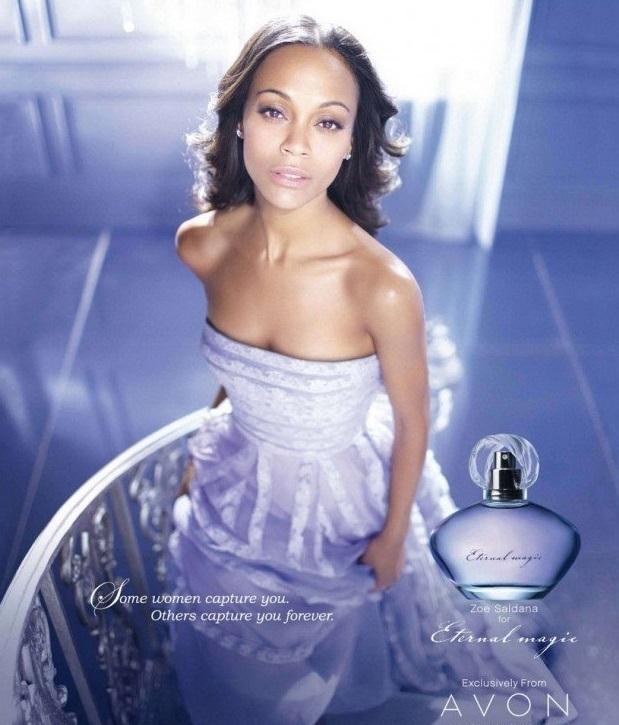 зоуи салдана в рекламе аромата от эйвон eternal magic