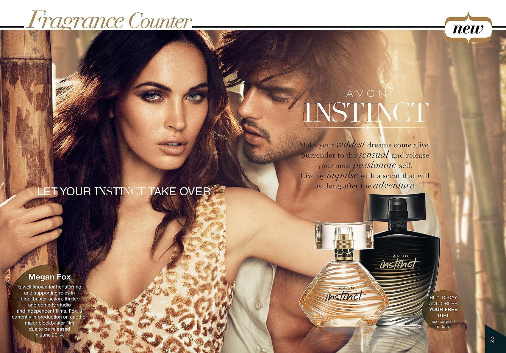 меган фокс в рекламе парфюмерной воды instinct от эйвон