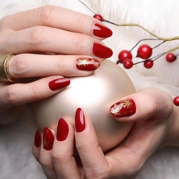 красный новогодний маникюр, фото идеи, маникюр на новый год