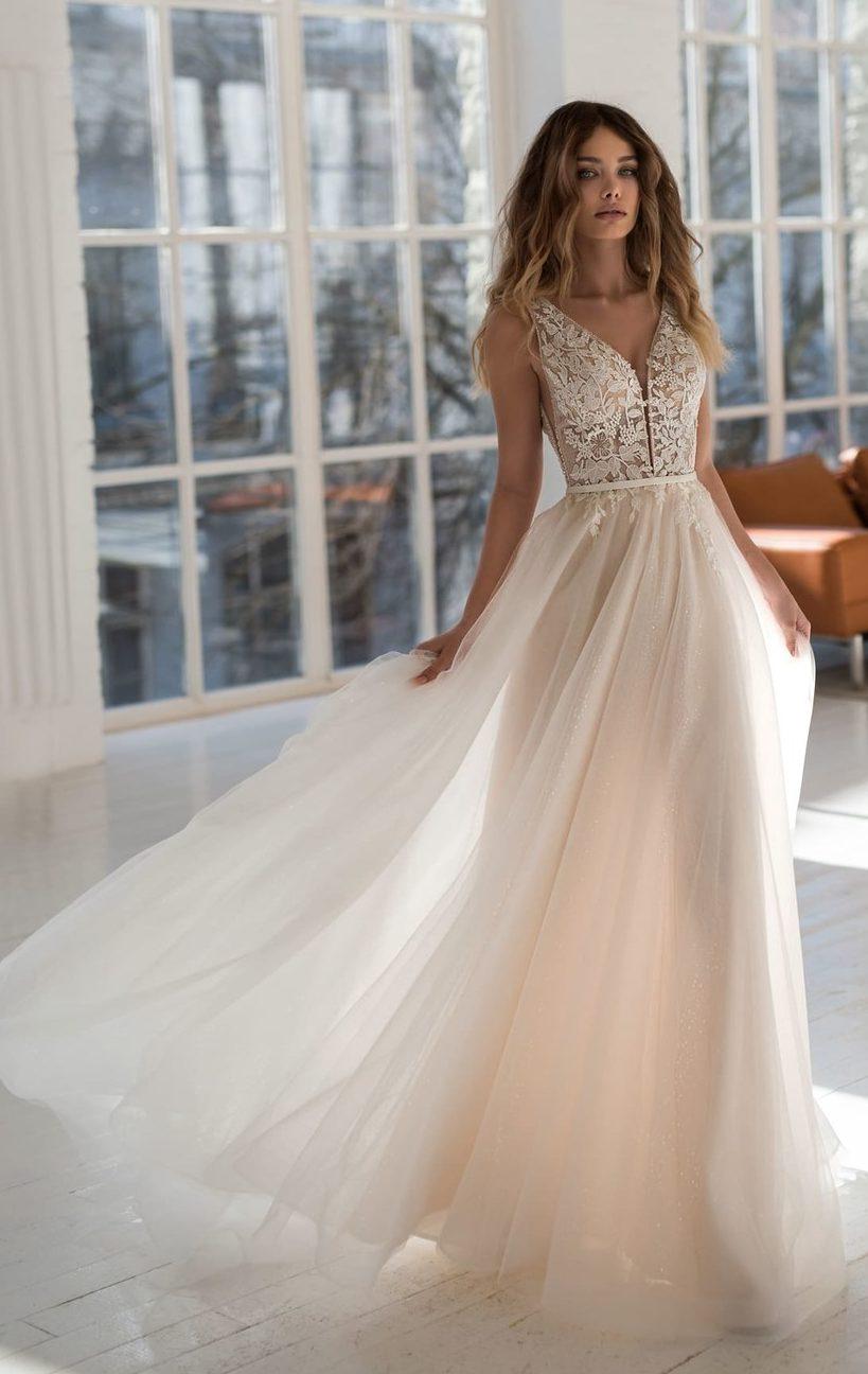 многослойное белое свадебное платье, мода для невест 2020
