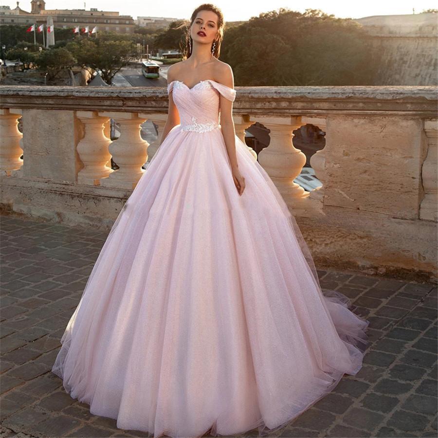 розовое свадебное платье - мода для невест 2020